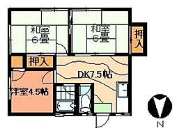 第1菊茂荘[201号室]の間取り