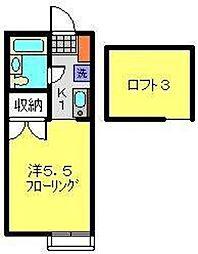 神奈川県横浜市旭区本宿町の賃貸アパートの間取り