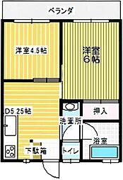 三光コーポ[203号室]の間取り