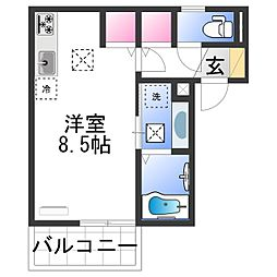 JR紀勢本線 宮前駅 徒歩25分の賃貸アパート 1階ワンルームの間取り
