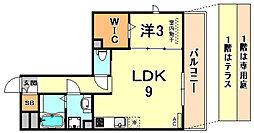 サニーヒル 3階1LDKの間取り