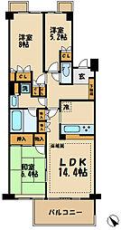 京王線 中河原駅 徒歩11分の賃貸マンション 3階3LDKの間取り