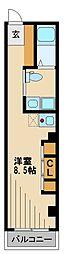 西武池袋線 清瀬駅 徒歩8分の賃貸マンション 2階ワンルームの間取り