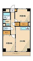 京王線 多磨霊園駅 徒歩5分の賃貸マンション 3階2LDKの間取り