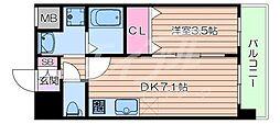 阪急京都本線 正雀駅 徒歩3分の賃貸マンション 4階1DKの間取り