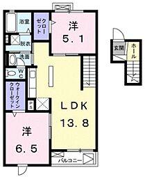 クリオII 4階2LDKの間取り