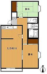 千葉県船橋市田喜野井1丁目の賃貸アパートの間取り