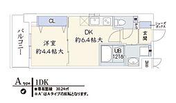 兵庫県神戸市兵庫区浜崎通の賃貸マンションの間取り