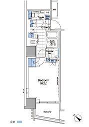 パークハビオ赤坂タワー 11階1Kの間取り