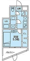 恵比寿YKマンション 地下1階1Kの間取り