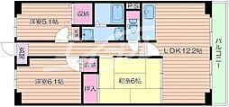 大阪府箕面市粟生外院3丁目の賃貸マンションの間取り