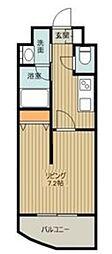 西武池袋線 ひばりヶ丘駅 徒歩1分の賃貸マンション 9階1Kの間取り