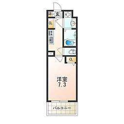 レオンヴァリエ大阪ベイシティ 4階1Kの間取り