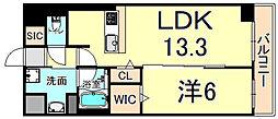 フラクタス尾浜 5階1LDKの間取り