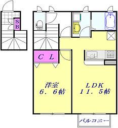 JR京浜東北・根岸線 大宮駅 徒歩15分の賃貸アパート 2階1LDKの間取り