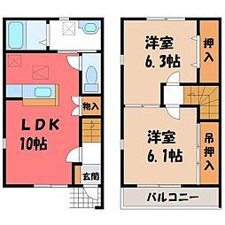 東武宇都宮線 江曽島駅 バス10分 台新田神社前下車 徒歩7分の賃貸テラスハウス 2階2LDKの間取り