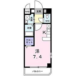 南海高野線 千代田駅 徒歩4分の賃貸マンション 5階1Kの間取り