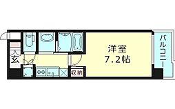 プロシード大阪イーストアクアラフォンテ 4階1Kの間取り