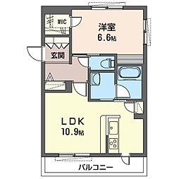 仮)セブンリリー 2階1LDKの間取り