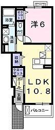 大阪府堺市東区西野の賃貸アパートの間取り
