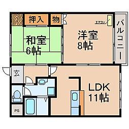 滋賀県高島市勝野の賃貸アパートの間取り