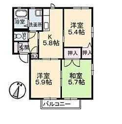 ノースヴェレッジ III B[2階]の間取り