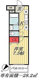 JR総武線 市川駅 徒歩9分の賃貸マンション 4階1Kの間取り
