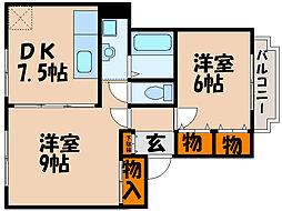 滋賀県長浜市殿町の賃貸マンションの間取り
