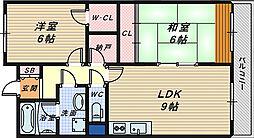エクセル三国ヶ丘[4階]の間取り