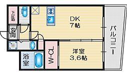 セレニテ江坂ルフレ 4階1DKの間取り