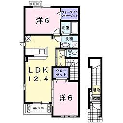 愛知県豊橋市馬見塚町の賃貸アパートの間取り