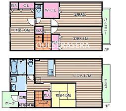 [テラスハウス] 大阪府箕面市船場西2丁目 の賃貸【/】の間取り