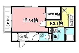 都営新宿線 曙橋駅 徒歩6分の賃貸マンション 1階1Kの間取り