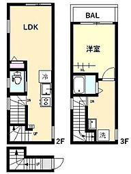 東急多摩川線 鵜の木駅 徒歩3分の賃貸アパート 2階1LDKの間取り