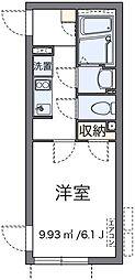 小田急小田原線 千歳船橋駅 徒歩7分の賃貸マンション 2階1Kの間取り