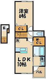 西武多摩川線 競艇場前駅 徒歩13分の賃貸アパート 2階1LDKの間取り