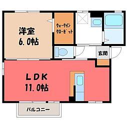ドミールノア 2階1LDKの間取り