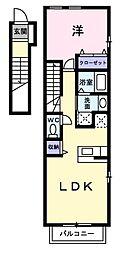 愛知県岡崎市宇頭町字向山の賃貸アパートの間取り