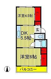 ヤマサイコーポ7号棟[3階]の間取り