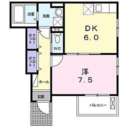 愛知環状鉄道 北岡崎駅 徒歩16分の賃貸アパート 1階1DKの間取り