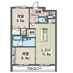 エミナール那珂川 3階2LDKの間取り