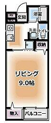 西武多摩川線 多磨駅 徒歩1分の賃貸マンション 1階1Kの間取り