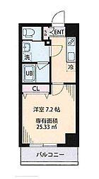 都営大江戸線 森下駅 徒歩8分の賃貸マンション 6階1Kの間取り