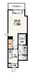 東武東上線 北池袋駅 徒歩6分の賃貸マンション 2階1Kの間取り