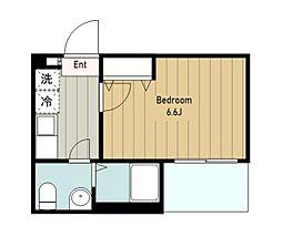 小田急江ノ島線 長後駅 徒歩2分の賃貸アパート 2階ワンルームの間取り
