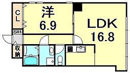 コロナール甲子園 1階1LDKの間取り