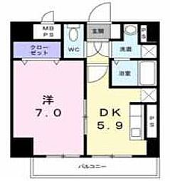 JR高崎線 宮原駅 徒歩2分の賃貸マンション 3階1DKの間取り