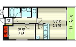 オルゴグラート鶴見 3階1LDKの間取り
