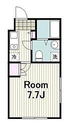 川崎区日進町新築マンション 2階1Kの間取り
