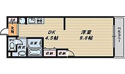 大阪府堺市中区東八田の賃貸アパートの間取り